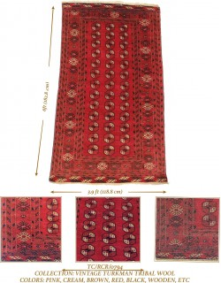 VINTAGE TURKMAN TRIBAL WOOL